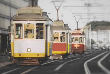 Famous Lisbon trams on the street.