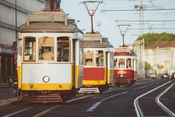 Famous Lisbon trams on the street.