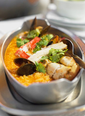 Rice paella with seafood. Arroz con mariscos.