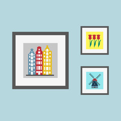 Pictures on the wall with Holland and Amsterdam symbols: old buildings, tulips and windmill. Vector illustration in flat style.