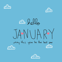 Hello January may this year be the best year word vector illustration doodle style
