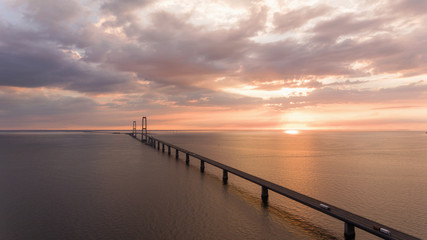 View from above of bridge at sunset Storebæltsbroen,  Great Belt Bridge
