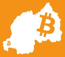Rwanda map with bitcoin crypto currency symbol illustration