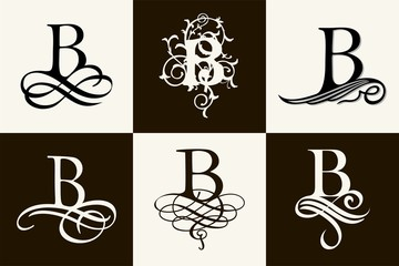 Vintage Set . Capital Letter B for Monograms and Logos. Beautiful Filigree Font. Victorian Style.