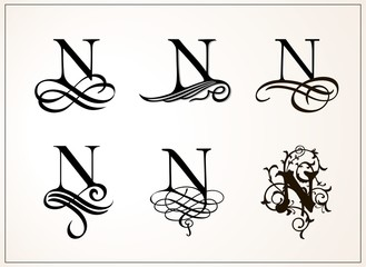 Vintage Set . Capital Letter N for Monograms and Logos. Beautiful Filigree Font. Victorian Style.