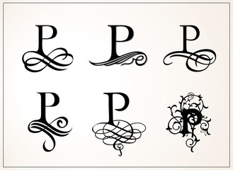 Vintage Set . Capital Letter P for Monograms and Logos. Beautiful Filigree Font. Victorian Style.