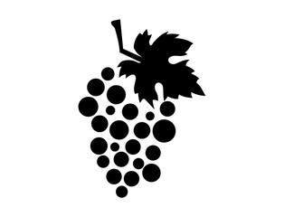 Fruit Grape and Leaf for Wine Illustration Abstract Logo Silhouette