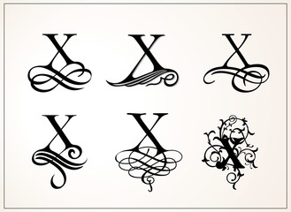 Vintage Set . Capital Letter X for Monograms and Logos. Beautiful Filigree Font. Victorian Style.