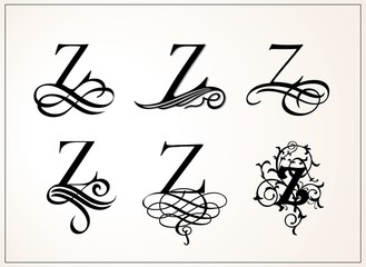 Vintage Set . Capital Letter Z for Monograms and Logos. Beautiful Filigree Font. Victorian Style.