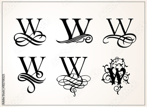 Capital Letter W For Monograms And Logos Beautiful Filigree Font Victorian