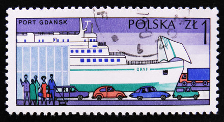 "MOSCOW, RUSSIA - APRIL 2, 2017: A post stamp printed in Poland shows sea port Gdansk, Ferry "" Gryf "", circa 1976"