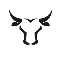abstract simple Bull head vector logo concept illustration, Buffalo head logo,Taurus head logo.  bull Animal logo sign,