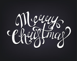 Merry Christmas hand written lettering.