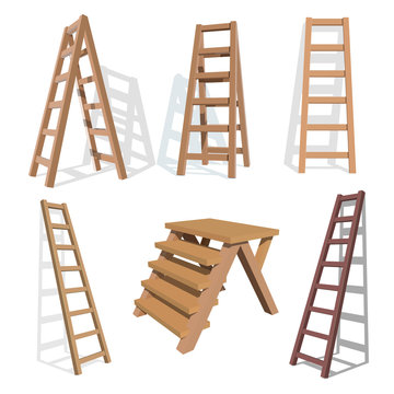 Set of stairs. Wooden staircase on a white background. Vector ladder  illustration