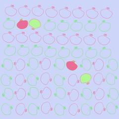 Pomegranate pattern, stamens. Hand drawn.