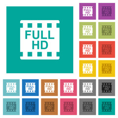 Full HD movie format square flat multi colored icons