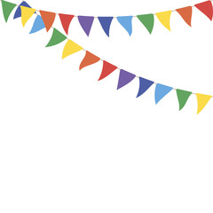 Colorful party flags. Celebrate flags. Party background with flags
