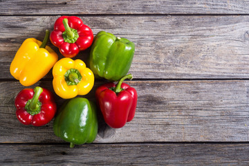 Colorful green , red and yellow peppers