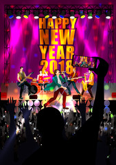 Happy New Year DJ disco party celebration banner invitation template background