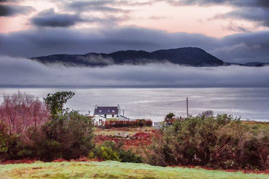 Mist covered Beara Peninsular on Bantry Bay, Wild Atlantic Way