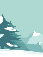 Beautiful winter background with trees and mountains. Vector cartoon illustration