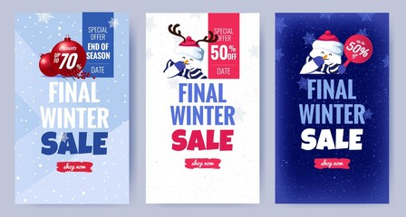 Collection of cute winter sale posters. Beautiful winter background with holiday symbols. Voucher discount. Vector illustration