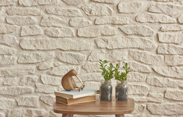 coffee stand home decoration brick wall background home style interior