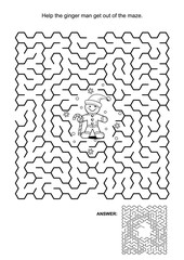Maze game, black and white: Help ginger man get out of the maze. Answers included.