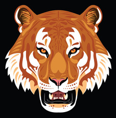 Portrait of a growling tiger