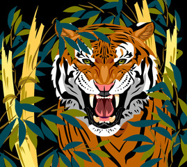 Portrait of a growling tiger in green bamboo thickets