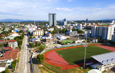 Building and soccer field in the city