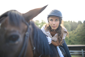 Horse rider ready to ride in a competition