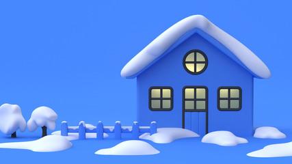 cartoon house window light 3d rendering winter snow concept