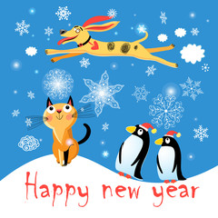 Winter postcard with a cat dog and penguins