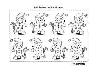 IQ training find the two identical pictures with ginger man visual puzzle and coloring page. Answer included.