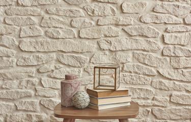 flower pot brick wall old book behind brick wall