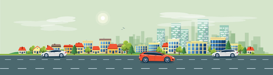 Papiers peints Cartoon voitures Flat vector cartoon style illustration of urban landscape road with cars, skyline city office buildings and family houses in small town village in backround. Traffic on the street.