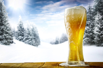 winter time and cold beer