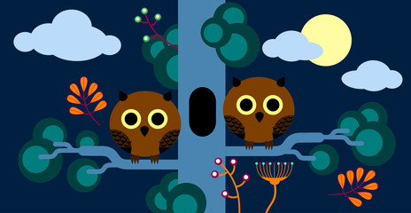 Two owls sitting on a pine. Children's theme, flat