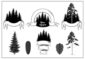 Set of icons with the image of the forest, pine, trees, banners, labels, badges