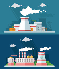 Industrial landscape set. The nuclear power plant and factory on the background of the city. Vector flat illustration