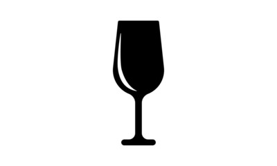 Wine Glass Icon isolated on white.