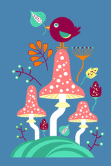 Cute mushrooms and flowers, children's theme
