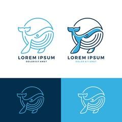 whale logo vector emblem line art outline download