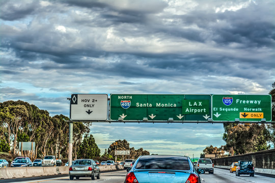 Exit signs in 405 freeway in Los Angeles