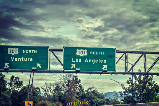 Los Angeles exit sign in 101 freeway