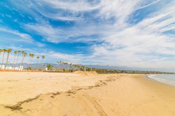 Cloudy sky over Santa Barbara golden shore