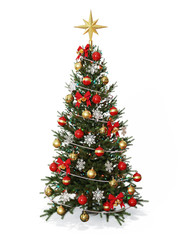 Decorated Christmas  tree with golden star