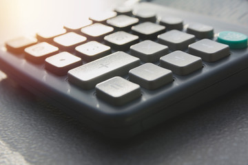 Close up of black calculator. Technology and financial concept.