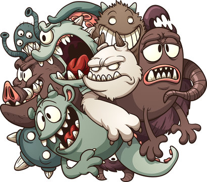 Cartoon ball of monsters. Vector clip art illustration with simple gradients. All in a single layer.